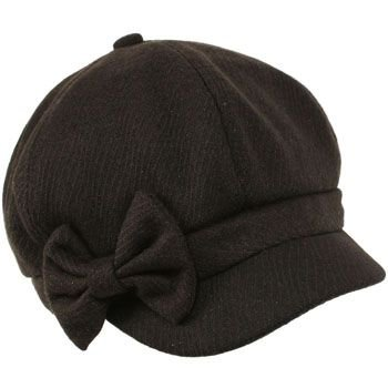 Ladies Winter Fall 6 Panel Newsboy Gatsby Cabbie Driver Ribbon Bow Cap Hat Black