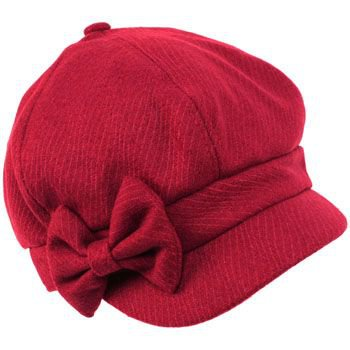 Ladies Winter Fall 6 Panel Newsboy Gatsby Cabbie Driver Ribbon Bow Cap Hat Wine