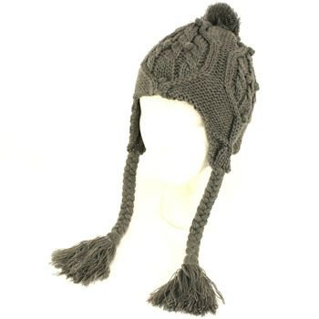 Ladies Winter Pompom Cable Knit Trooper Trapper Braid Tassel Ski Snow Hat Gray