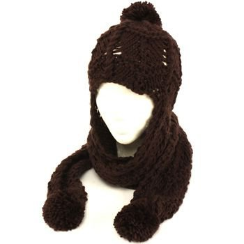 Hand Knit Trooper Trapper w/ Scarf Winter Ski Hat Brown