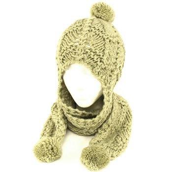 Winter Handmade Hand Knit Trooper Trapper w/ Scarf Winter Ski Pom Pom Hat Mint