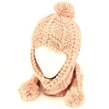 Winter Handmade Hand Knit Trooper Trapper w/ Scarf Winter Ski Pom Pom Hat Pink
