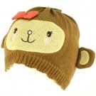 Kids Girls 6+ Winter Knit Animal Bear Ears Beanie Skull Cap Hat Ski Brown 6-1/4+