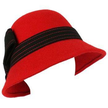 100% Wool Winter Structured Cloche Bucket Bell Church Stitch Ribbon Hat Red