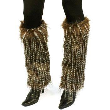 Winter Faux Shaggy Long Fur Animal Dance Ski Leg Warmer Boot Shoe Cover Brown