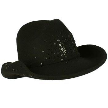 Winter Classic 100% Wool Adjustable Western Cowboy Sequins Dance Cap Hat Black