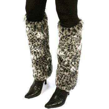 Winter Faux Fur Animal Print Dance Ski Leg Warmer Boot Shoe Cover Cheetah Black