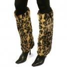 Winter Faux Fur Animal Print Dance Ski Leg Warmer Boot Shoe Cover Cheetah Brown