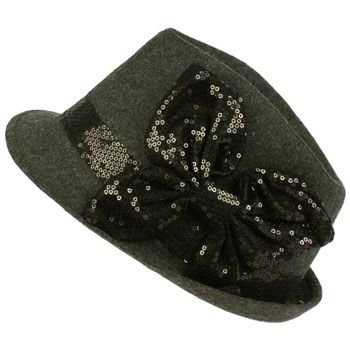Ladies Winter Classic Wool Blend Fedora Trilby Sequins Bow Dancer Cap Hat Gray