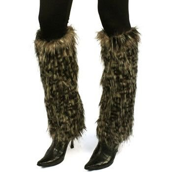 Winter Faux Fur Animal Print Dance Ski Leg Warmer Boot Shoe Cover Leopard Black