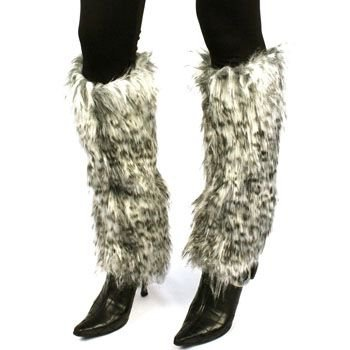 Winter Faux Fur Animal Print Dance Ski Leg Warmer Boot Shoe Cover Leopard White