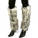 Winter Faux Fur Animal Print Dance Ski Leg Warmer Boot Shoe Cover Leopard White