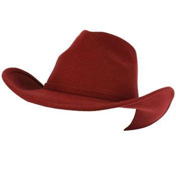 Unisex Winter Big Classic 100% Wool Felt Western Cowboy Curled Brim Hat Wine