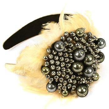 Wide Fancy Formal Real Feathers Metallic Beads Handmade Headwrap Headband Beige