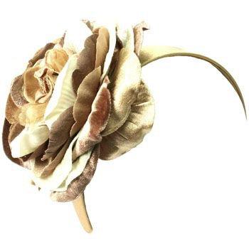 Wide Fancy Formal Big Velvety Flower Handmade Fascinator Headwrap Headband Beige