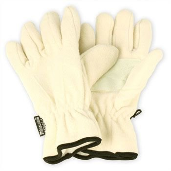 Ladies Winter Dual Thick Fleece Ski 3M Thinsulate Grip Snow Gloves Ivory S/M