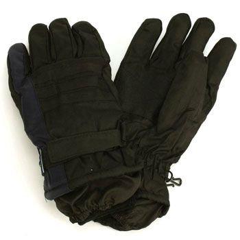 Men's Winter Thinsulate 3M Waterproof Velcro Ski Wrist Cover Gloves Blk Navy M/L