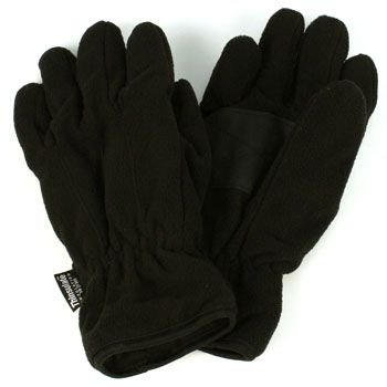 Men's Winter Dual Thick Fleece Ski 3M Thinsulate Palm Grip Snow Gloves Black M/L