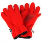 Ladies Winter Dual Thick Fleece Ski 3M Thinsulate Grip Snow Gloves Red M/L