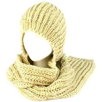 Winter Chunky Knit Hooded Scarf Pullover Headscarf Neckwarmer Hoodie Hat Beige