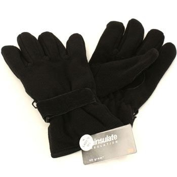 Ladies Winter Fleece Velcro Ski 3M Thinsulate Palm Grip Snow Gloves Black L/XL