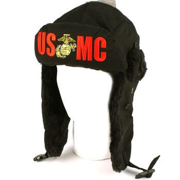 US Marine C Winter Faux Fur Trooper Trapper Ski Earflap Aviator Cap Hat Black