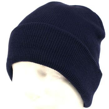 Men's Wiinter Thinsulate 3M Ribbed Knit Ski Snow Beanie Skull Cap Hat 2ply Navy