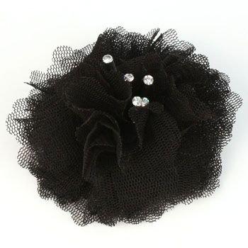 Elegant Fishnet Corsage Hair Clip Pin Brooch Clothing Hats Scarf Crystals Black