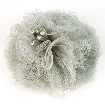Elegant Fishnet Corsage Hair Clip Pin Brooch Clothing Hats Scarf Crystals Gray