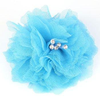 Elegant Fishnet Corsage Hair Clip Pin Brooch Clothing Hats Scarf Crystals Blue