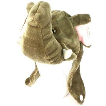 Faux Fake Fur Animal Plush Elephant Big Trunk Trapper Slip Tie Ski Pompom Hat