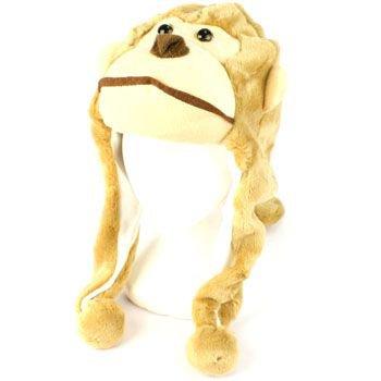 Faux Fake Fur Animal Plush Monkey with Tail Trapper Slip Tie Ski Snow Pompom Hat