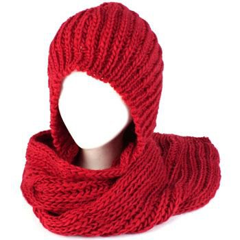 Winter Chunky Knit Hooded Scarf Pullover Headscarf Neckwarmer Hoodie Hat Red