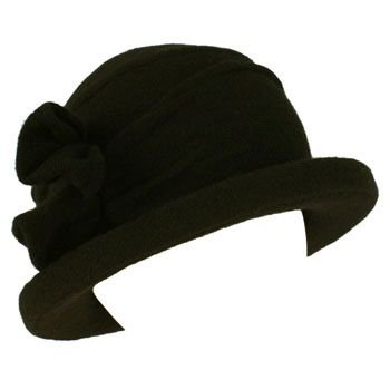 San Diego Hat 100% Wool Winter Ski Cloche Bucket Bow Hard Brim Church Hat Black