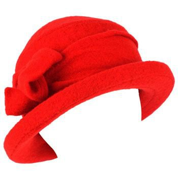 San Diego Hat 100% Wool Winter Ski Cloche Bucket Bow Hard Brim Church Hat Red