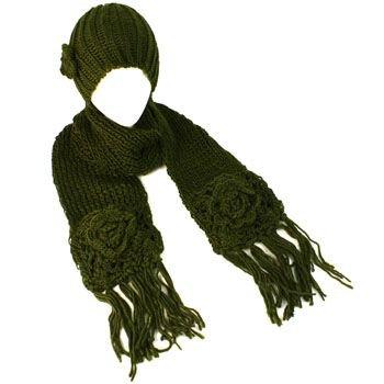 Winter Crochet Flower Knit Beanie Hat w Ski Scarf Pockets Mitten Olive 2pc Set