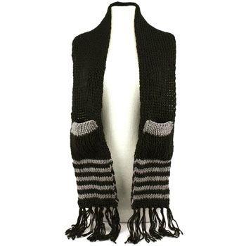Winter Cable Knit Stripe Long Fringe Scarf Shawl Ski Hat w Pockets Mittens Black