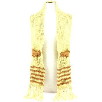 Winter Cable Knit Stripe Long Fringe Scarf Shawl Ski Hat w Pockets Mittens Beige