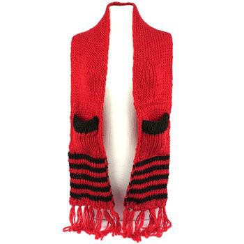 Winter Cable Knit Stripe Long Fringe Scarf Shawl Ski Hat w Pockets Mittens Red