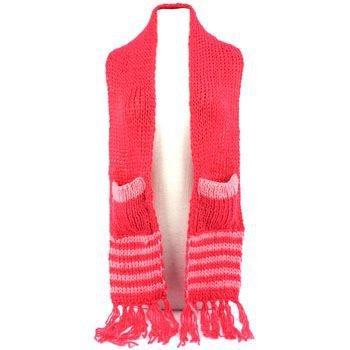 Winter Cable Knit Stripe Long Fringe Scarf Shawl Ski Hat w Pockets Mitten Pink