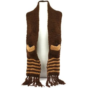 Winter Cable Knit Stripe Long Fringe Scarf Shawl Ski Hat w Pockets Mitten Brown