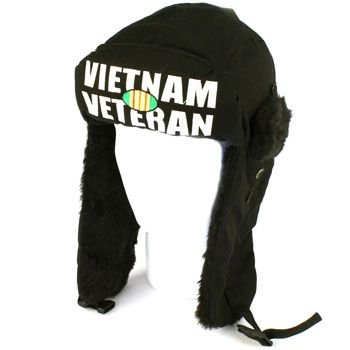 Vietnam Veteran Winter Faux Fur Trooper Trapper Ski Snow Aviator Cap Hat Black