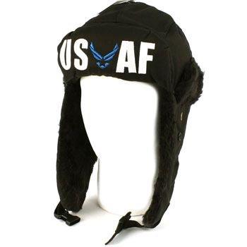US Air Force Winter Faux Fur Trooper Trapper Ski Earflap Aviator Cap Hat Black