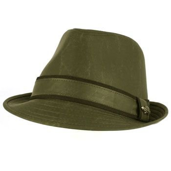 Men's Winter Classic Faux Leather Distress Fedora Trilby Gangster Hat Gray L/XL