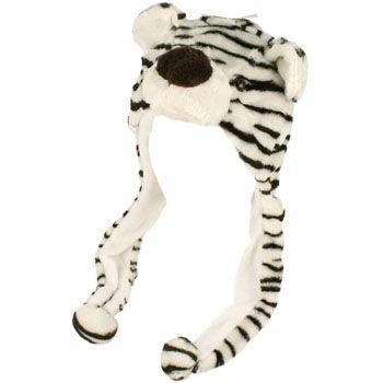 Faux Fake Fur Animal Plush White Tiger Trooper Trapper Slip Tie Ski Cap Hat