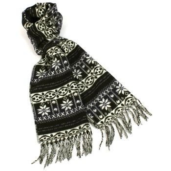Unisex Winter Softer Than Cashmere? Warm Snow Scarf Shawl Fringe Snowflake Navy
