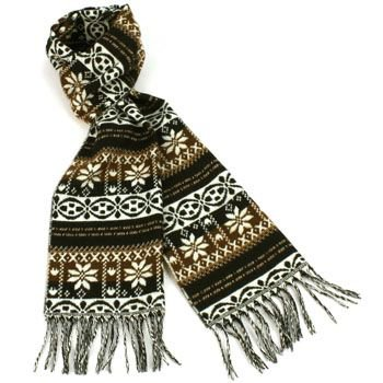 Unisex Winter Softer Than Cashmere? Warm Snow Scarf Shawl Fringe Snowflake Brown