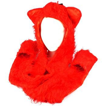 Winter Faux Fake Frizzy Animal Fur Scarf Trapper Ski Hat w Gloves Mittens Red