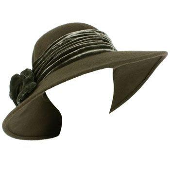 100% Wool Winter Velvet Floral Hatband Wide Brim Floppy Bucket Church Hat Gray