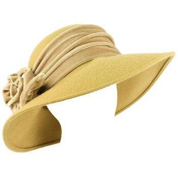 100% Wool Winter Velvet Floral Hatband Wide Brim Floppy Bucket Church Hat Camel